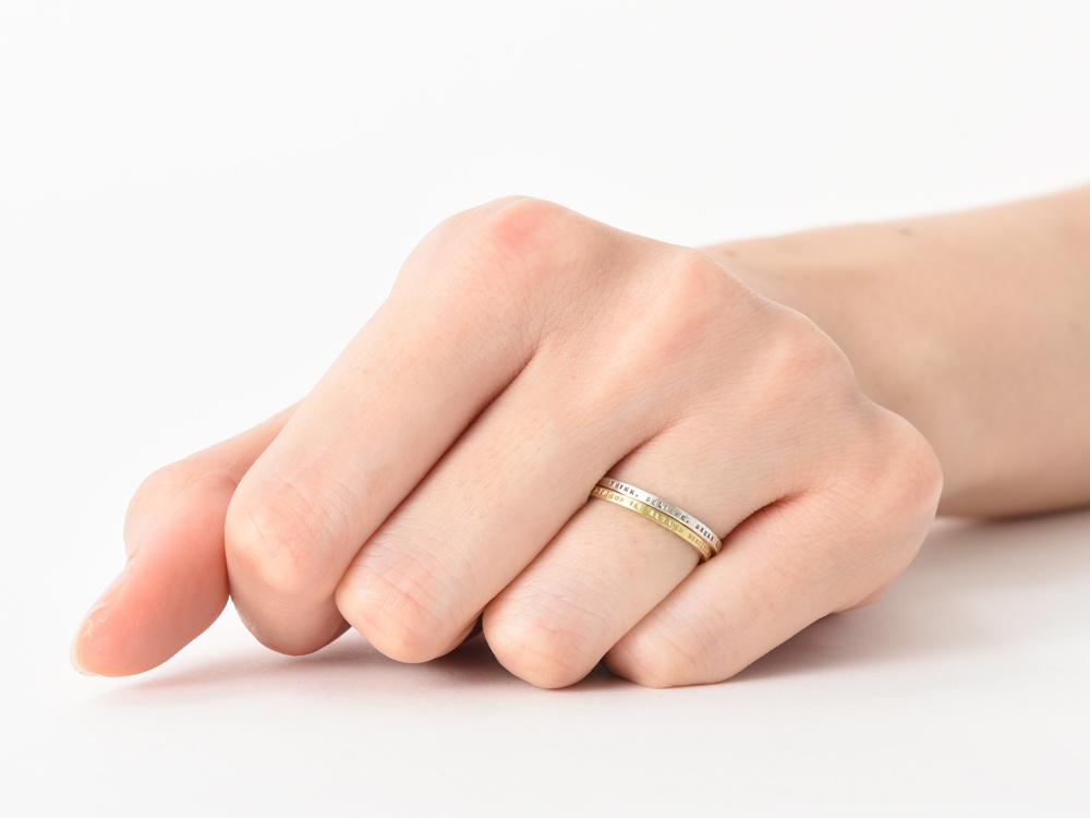 華奢なリングの重ね付け例